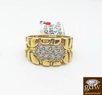 Mens Real 10 k Yellow Gold, Genuine Diamond Nugget Ring Band , Casual, Pinky  N