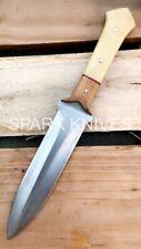 SPARK CUSTOM HANDMADE D2 FULL TANG DOUBLE EDGE HIGH POLISH KNIFE W/ SHEATH