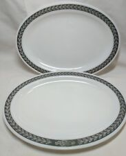 """2 Corning Décor Dinner Ware Oval Platters Gray Band Laurel Leaves Daisies 12.5"""""""