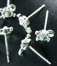 20 Tibetan Silver earring post 15mm T632