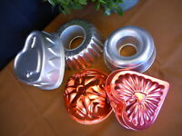 Vintage Lot of 5 Misc Copper & Tin Molds Wall Hanging Farmhouse Decor