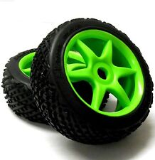 81291 1/8 Scale Off Road RC R/C Buggy Off Road Wheels and Tyres 2 Green 6 Spoke