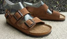 BIRKENSTOCK Milano Brown Leather Ankle Strap Sandals Womens Sz 7 - 7.5 EU 38 EUC