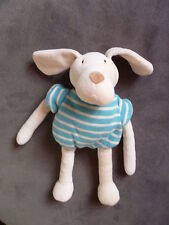 Doudou NOUNOURS chien blanc rayé bleu turquoise