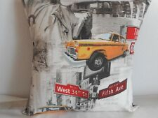 "NEW YORK LANDMARKS (3) CUSHION COVER 17""/43cm Yellow Cab, Street Signs, Bridge"