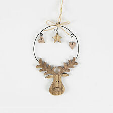 RUSTIC WOODEN RUDOLPH HANGING DECORATION COPPER COLOUR BY SASS & BELLE