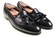 Edward Green Black Leather Brogue Tassel Loafers Wingtip Dress Shoes US 9.5 D