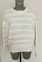 M&S Collection Size M (Size 12-14) Cream Striped Long Sleeve Jumper RRP £35