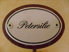 Kräuterschild Kräuterstecker Pflanzschild Emaille Emailschild Petersilie 25cm