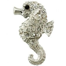 Seahorse Animal Sea Creature Brooch Pin Clear Crystal Stone Costume Silver Tone