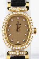 Vintage 18k Yellow Gold and Diamond Omega Ladies Quartz Watch w/ Leather Band