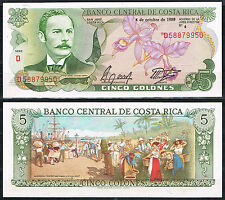 COSTA RICA BILLETE 5 COLONES 1989 Pick 236d    SC  UNC