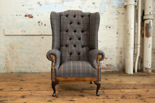 Handmade Tan Brown Herringbone Tweed with Antique Tan Leather High Back Chair