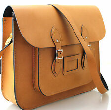 "15"" HANDCRAFTED LARGE REAL ITALIAN LEATHER LAPTOP SATCHEL SHOULDER BAG TAN"