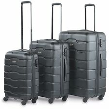 VonHaus Luggage Set of 3 ABS Lightweight Hard Shell Suitcase - 4 Wheel 360° SP Black