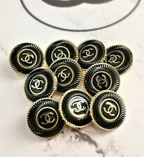 LOT OF 2 AUTHENTIC CHANEL CC LOGO BUTTON BUTTONS STEEL Ø 0,79 INCH 20 MM VINTAGE