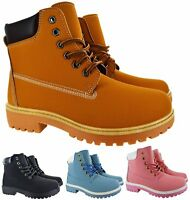 GIRLS WINTER WOMENS HIKING TRAINER LADIES GRIP SOLE ANKLE BOOTS SHOES SIZES 3-7