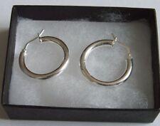 New 925 Sterling Silver Plain Creole Earrings 21mm Diameter & Gift Box Earing
