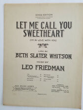 Let Me Call You Sweetheart (I'm In Love With You)- 1938 Sheet Musiic