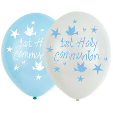 2 X 6 1st Holy Communion Party Boys Blue White Helium Latex Balloons Decoration