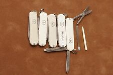 Lot of 5 white Victorinox Classic SD Swiss Army knives knife used key chain