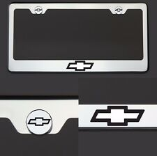 T304 SS Chrome Chevy Chevrolet Logo Black Laser Etched License Plate Frame Tag