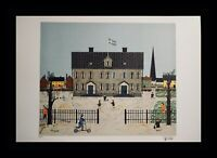 Hans Belin Magnus on His Way to School Hand Signed Num Lithograph ART Swedish