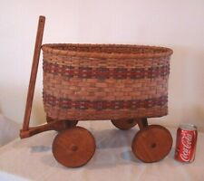 Antique vtg Doll toy baby bear Buggy Carriage wicker & wood wagon rolling large