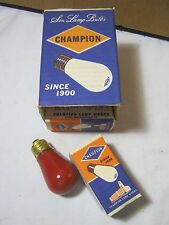 Champion 10 Watt Red vintage light bulbs Lot of Six New Old Stock