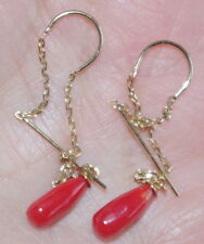 VINTAGE EXCUISITE 14K GOLD UNDYED 10MM RED CORAL ELONGATED TEAR DROP EARRINGS