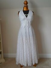 Vintage Long WHITE LACE FORMAL WEDDING GOWN McClintock SLEEVELESS Sz 6 GORGEOUS