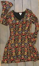 Old Navy A-Line Dress Career Long Sleeve Floral Multi Color V-Neck Sz 0 Tall EUC