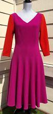 TALBOT RUNHOF Red & Magenta Virgin Wool Blend Full Skirt Dress Size 10