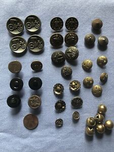 Lot of 37 Vintage Metal Buttons - RAILROAD, LIONS, CRESTS, GLADIATOR, CLOISSONÉ