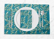 S4Sassy Nasturtium Leaves Everyday Placemats With Napkins Table Decor-LF-538F