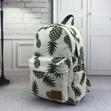 Pineapple Print Women Canvas Backpack School Book Travel Satchel Bag Rucksack