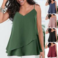 Women Stylish Vest Camisole Sleeveless Tank Top Strappy Ruffles T-Shirt Blouse