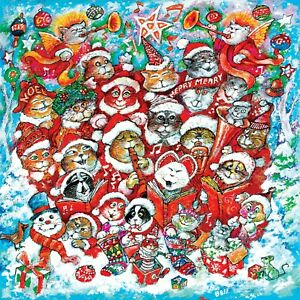 Cat Chorus 500 Pc Jigsaw Puzzle Bill Bell Sunsout NEW christmas holiday kitten