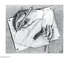 Drawing Hands M. C. Escher Fantasy Weird Odd B&W Art Print Poster 25.5x21.5