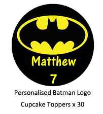 30 Batman Logo Personalised Cupcake Toppers Edible Wafer Paper Fairy Cake Topper