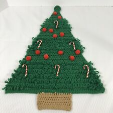 Crochet Christmas Tree Candy Cane Ornaments Finished Wall Hanging Vintage