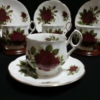 Vintage Rosina English Roses Deep Red Eight Piece Set - 4 Teacups 4 Saucers