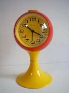 Blessing Wecker Tulpenfuß Kugeluhr Tischwecker Vintage Retro Orange Gelb