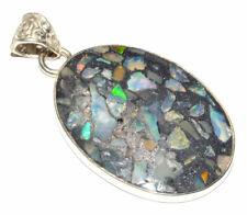 Ethiopian Opal In Pyrite 925 Sterling Silver Pendant Jewelry JB16414