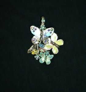 Kirks Folly Magnetic Butterfly Pendant in Gold Tone with box