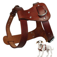 Genuine Leather Dog Harness Soft Durable for Small Medium Large Dogs S M L Brown