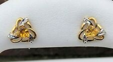 10K TWO-TONE (YELLOW & WHITE) GOLD CITRINE STUD EARRINGS