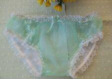 "Sheer  Mint  & White Nylon Chiffon Bikini Panties 30""- 44"" Sissy/TV/CD"