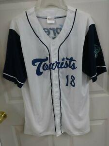 '18 MiLB Asheville Tourists SGA Button Front Baseball Jersey Men XL White & Blue