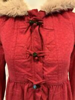 Marc by Marc Jacobs Red Lightweight Faux Fur Hooded Coat, Size Small